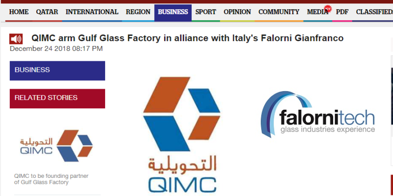 Qatar select Falorni Tech for Gulf Glass Factory