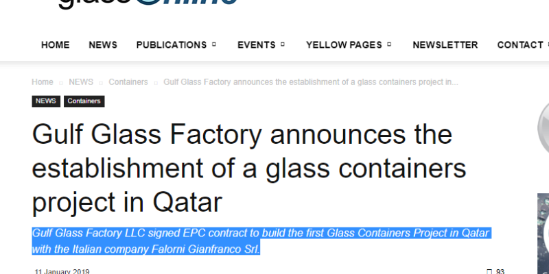 Gulf Glass Factory LLC signed EPC contract to build the first Glass Containers Project in Qatar with the Italian company Falorni Gianfranco Srl.