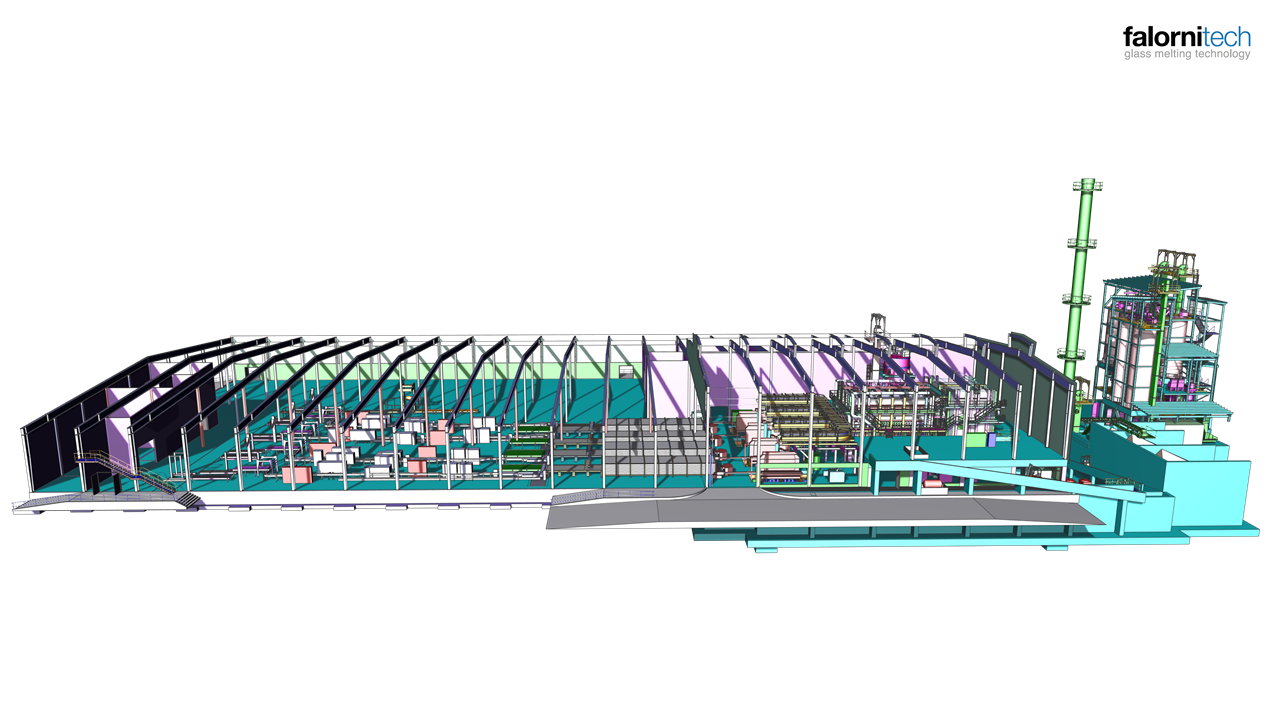 Side view of complete glass industry